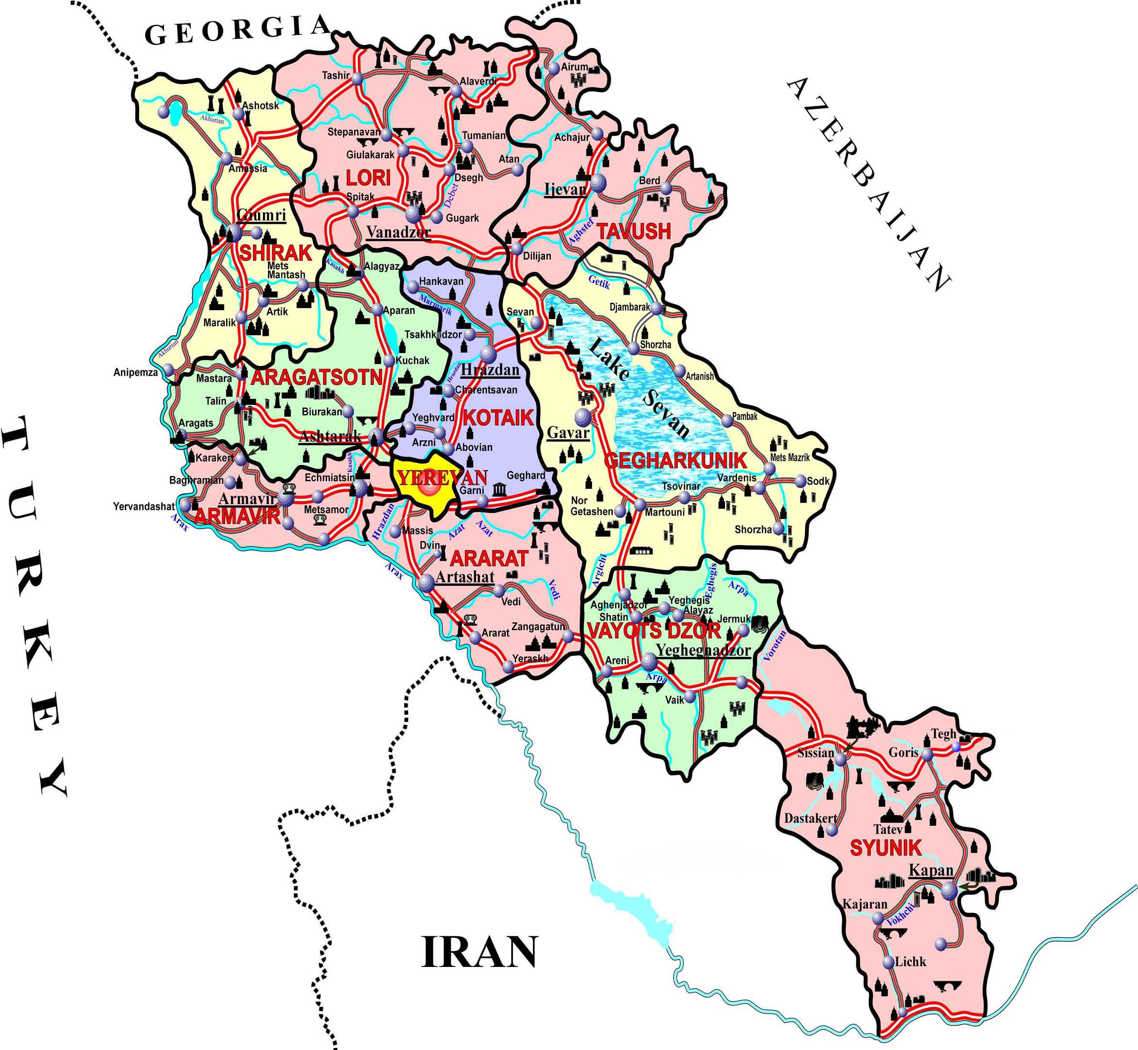 ARMENIA MAP TourArmenia - Armenia map