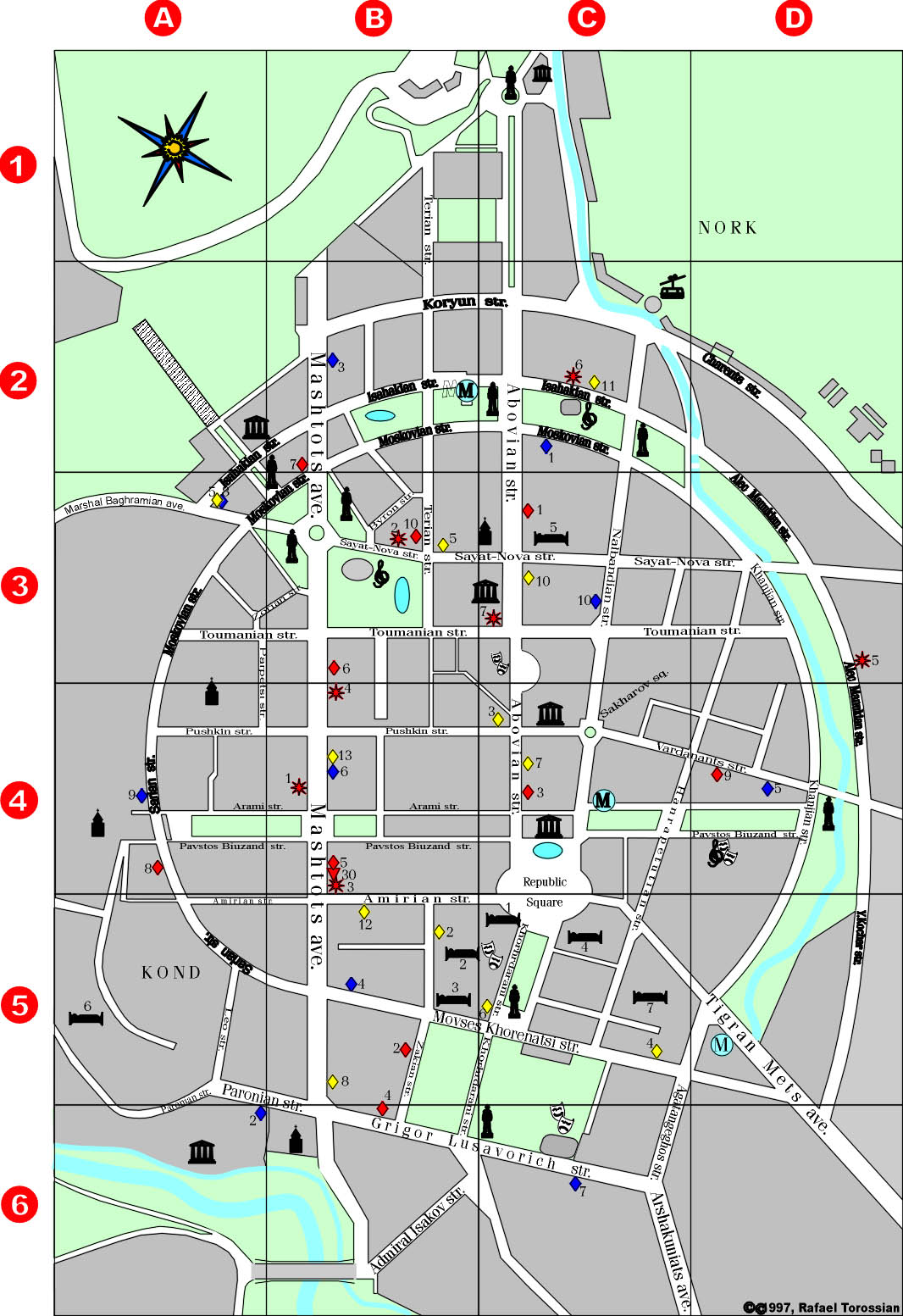 YEREVAN SERVICES MAP TourArmenia - yerevan map